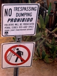 No crossing the track to dump trash!