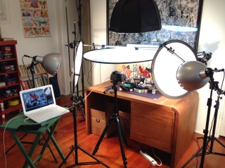 Soft box, flood lights, and translucent diffusers